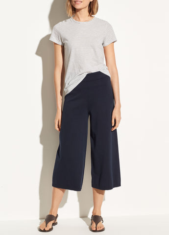Washed Cotton Culotte in Navy