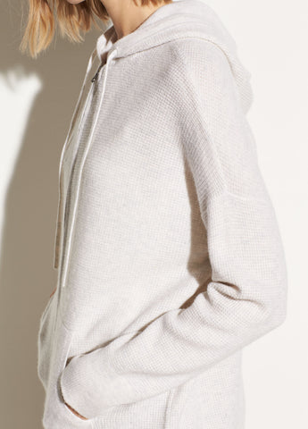 Wool Cashmere Thermal Hoodie in Heather White