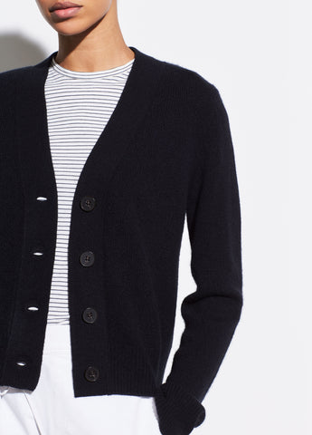Cashmere Shrunken Button Cardigan in Black