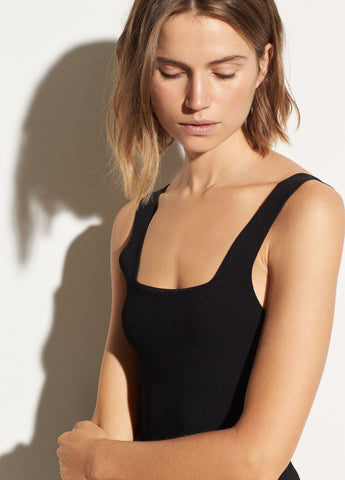 Square Neck Tank in Black