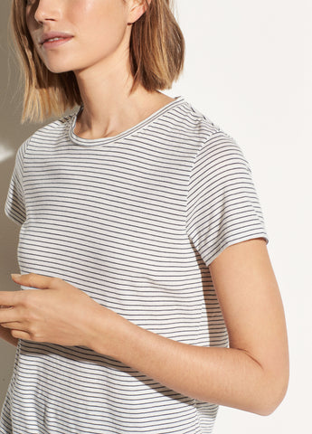 Skinny Stripe Short Sleeve Crew in Off White/Optic White