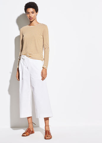 Midi Stripe Long Sleeve Crew in Natural/Teakwood
