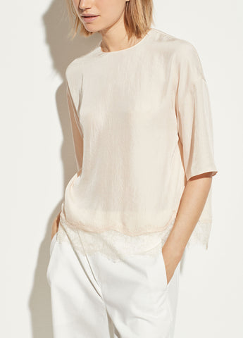 Lace Trim Tee in Pale Alder