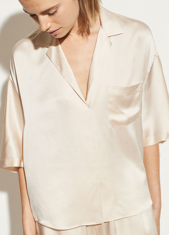 Satin Pajama Shirt in Pale Alder