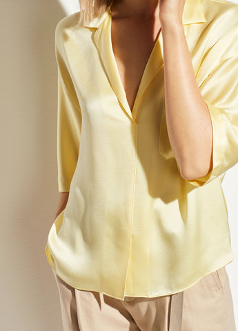 Satin Pajama Shirt in Lemon Glow