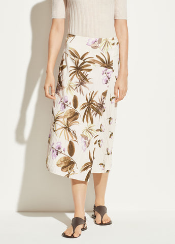 Tropical Garden Satin Skirt in Pale Alder