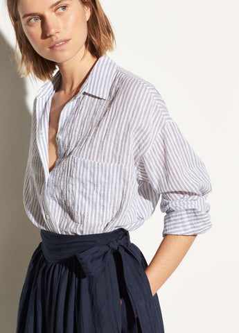 Striped Boxy Long Sleeve Shirt in Marine