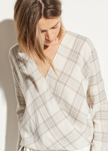 Textured Plaid Crossover Blouse in Off White