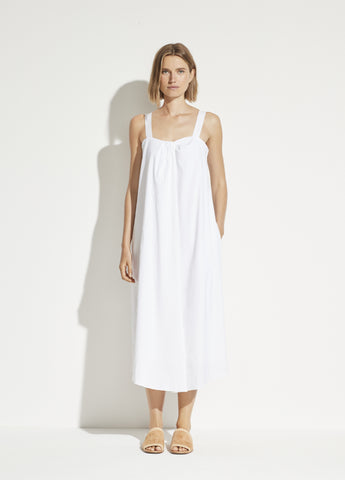Linen Sleeveless Drape Neck Dress in Optic White
