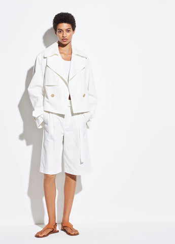 Cropped Belted Jacket in Off White