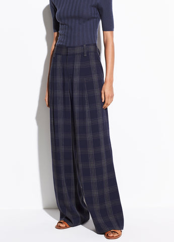 Plaid Wide Leg Pant in Marine