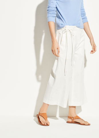 Tie Waist Culotte in Off White