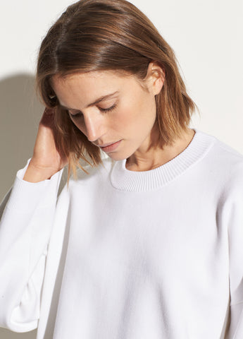 Washed Cotton Boxy Crew in Optic White