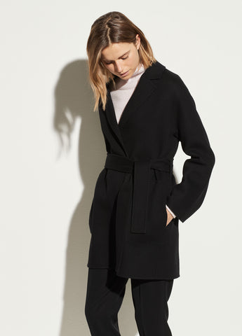 Belted Wool Cardigan Coat in Black