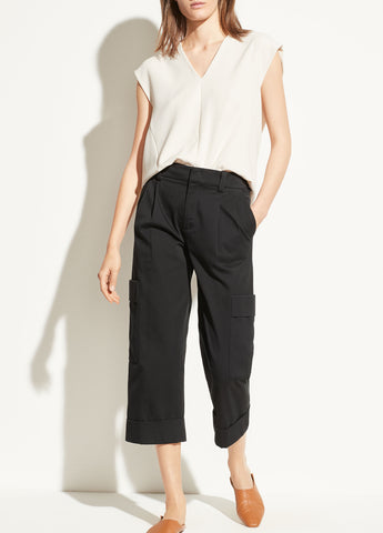 Cropped Cargo Pant in Black