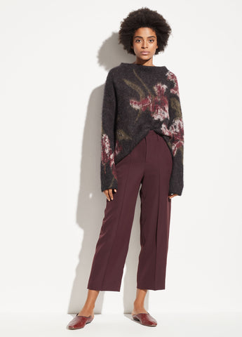 Straight Cropped Pant in Dahlia Wine