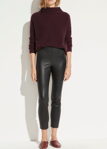 Leather Stitch Front Legging in Black