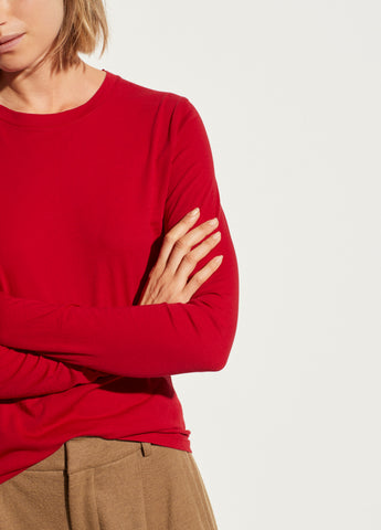 Essential Long Sleeve Crew in Dark Cherry Rust