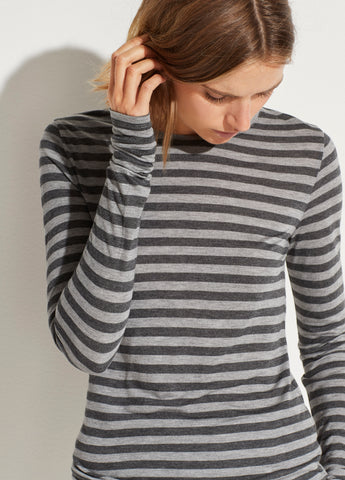 Stripe Long Sleeve Crew in Heather Grey/Heather Charcoal