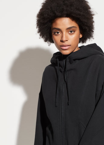 Sherpa Hooded Zip-Up in Black