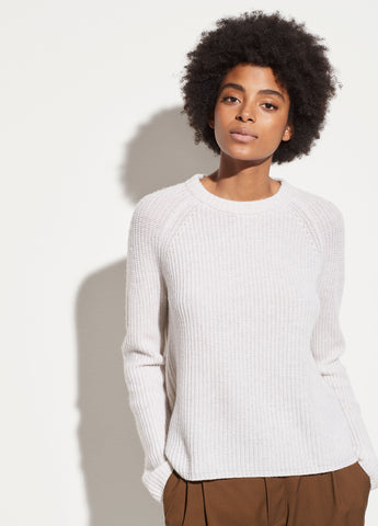 Shaker Rib Cashmere Pullover in Heather White