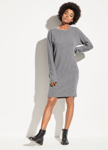 Raglan Crew Dress in Dark Grey