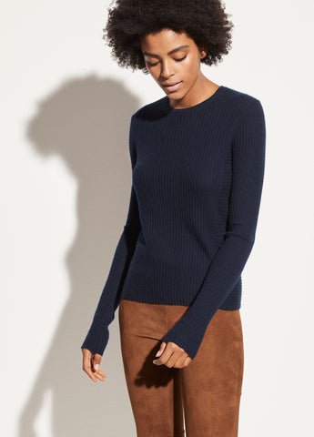 Directional Rib Cashmere Pullover in Coastal Blue