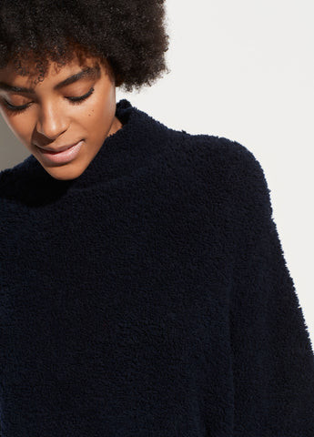 Teddy Funnel Neck Pullover in Navy