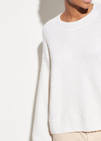 Merino Boucle Crew in Off White
