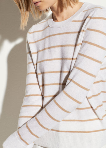 Striped Overlay Cashmere Crew in Heather White/Camel
