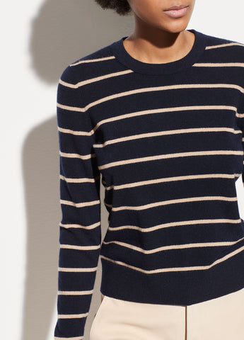 Striped Overlay Cashmere Crew in Coastal/Limestone