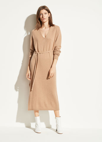 Wool Cashmere V-Neck Dress in Heather Desert Clay