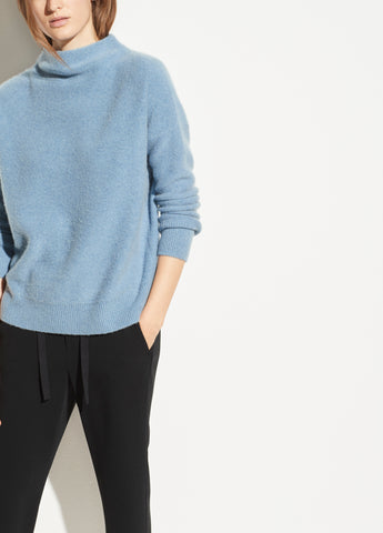 Boiled Cashmere Funnel Neck Pullover in Heather Azurite