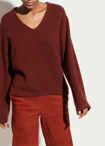 Boiled Cashmere V-Neck Dolman Pullover in Cherry Mohagany