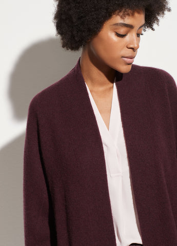 Boiled Cashmere Raglan Cardigan in Heather Dahlia Wine