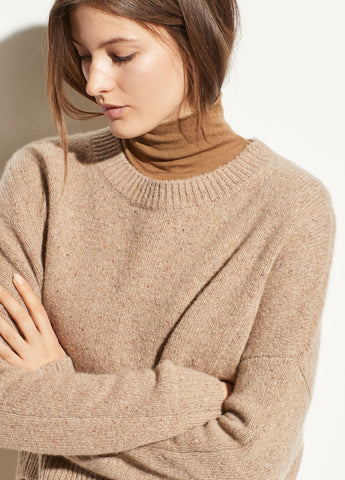 Cashmere Double Seam Crew in Camel