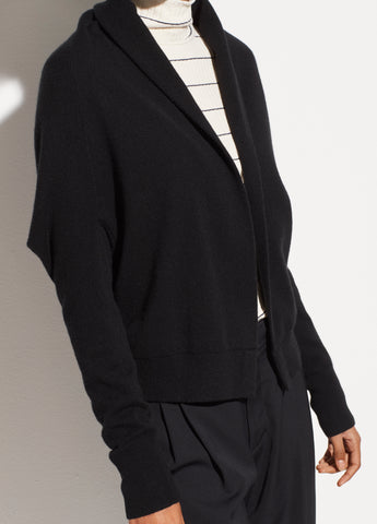Cashmere Shawl Cardigan in Black