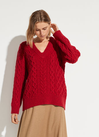 Cable Knit V-Neck in Cherry