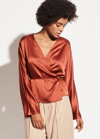Wrap Tie Blouse in Brick