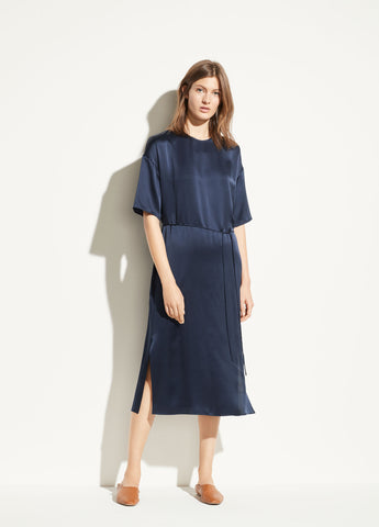 Satin Seamed Front Dress in Marine