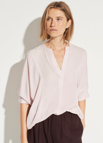 Silk Half Placket Blouse in Rosa Seco
