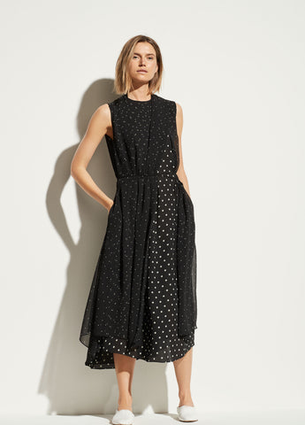 Mixed Dot Dress in Black