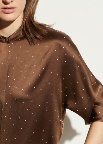 Dotted Satin Popover in Woodbine