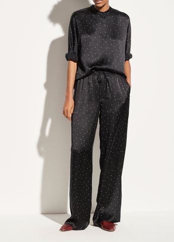 Dotted Satin Pajama Pant in Black