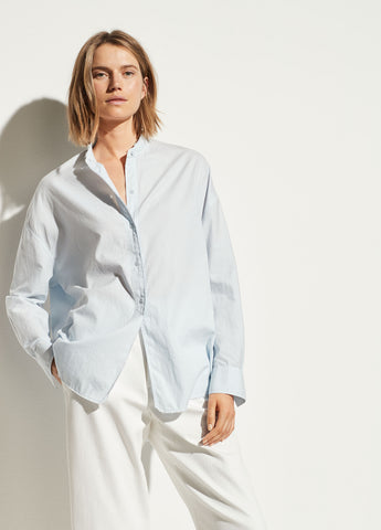 Oversized Raw Edge Button Down in Powder Blue