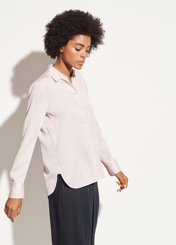 Satin Slim Fit Blouse in Rosa Seco