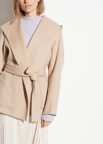 Hooded Wool Cashmere Coat in Desert Clay