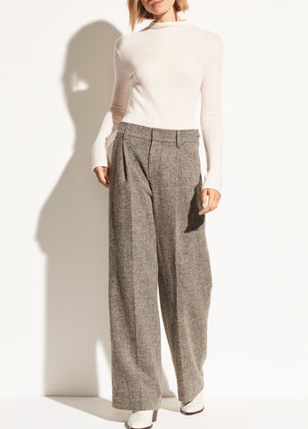 Pebble Texture Wool Wide Leg Pant in Heather Graphite