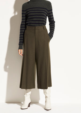 Pleat Front Flannel Culotte in Mineral Pine