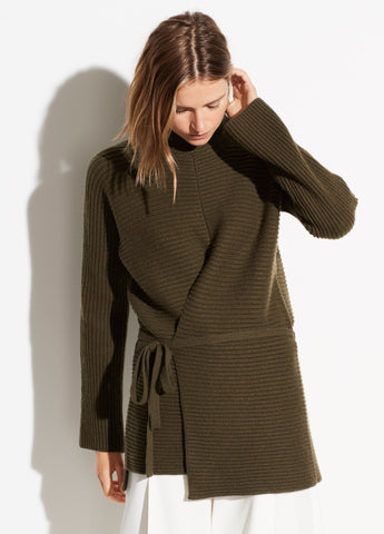 Wool Cashmere Tie Front Tunic in Olive Oil